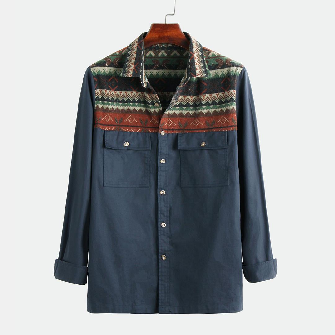 Män 100% bomull etniska mönster lapptäcke dubbla fickor skjortor