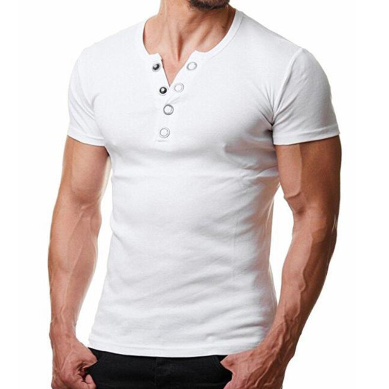 Mens Breathable Cozy Solid Color Short Sleeve Slim Fit Summer Casual Buttons Shirts - 3