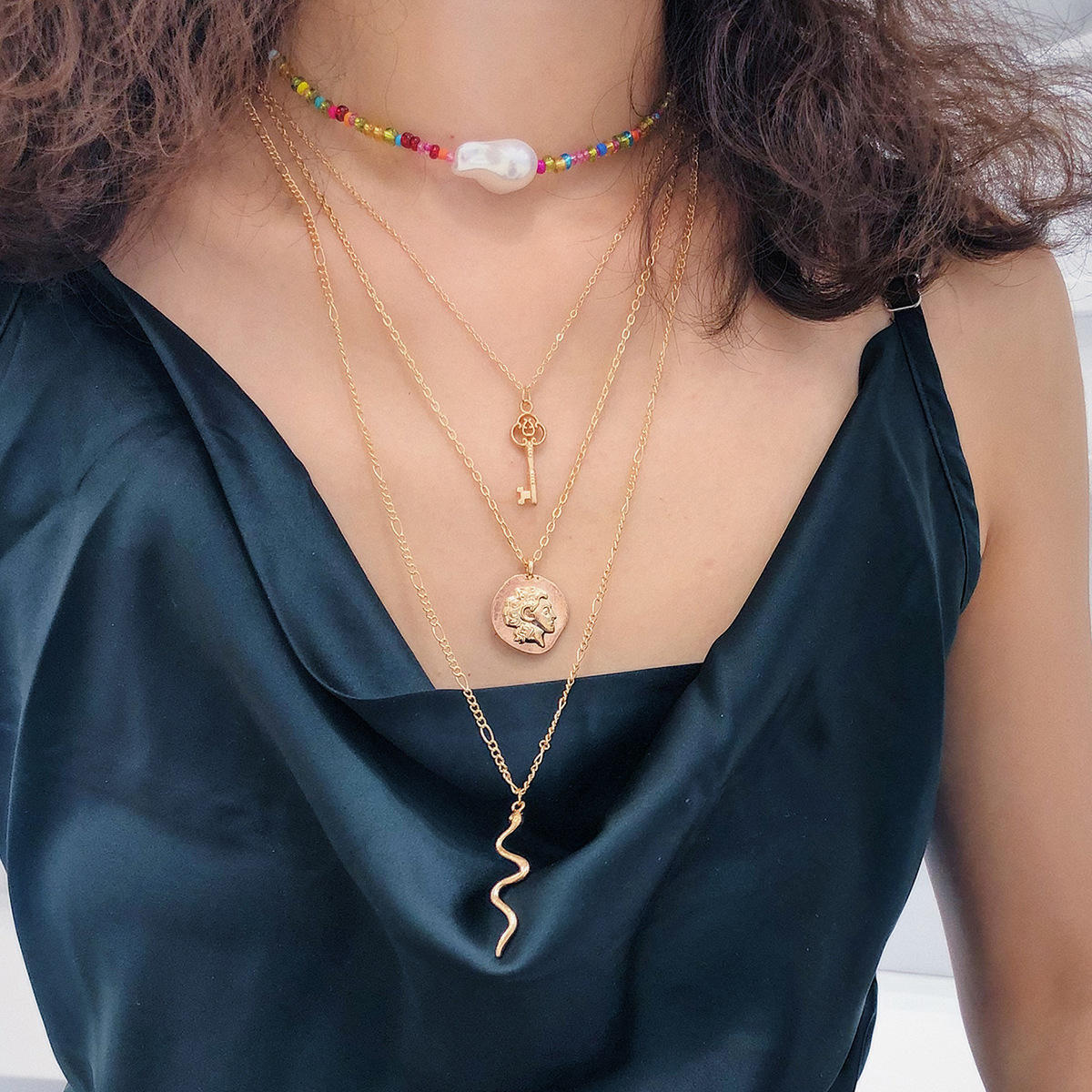 Trendy Geometric Key Snake Pendant Chain Necklace Multi-layer Color Rice Beaded Pearl Necklace
