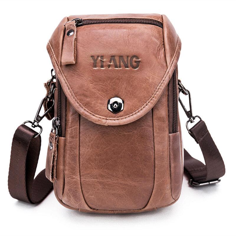 Genuine Leather 5.5-7″ Cell Phone Bag Waist Bag Crossbody Bag For Men - 1