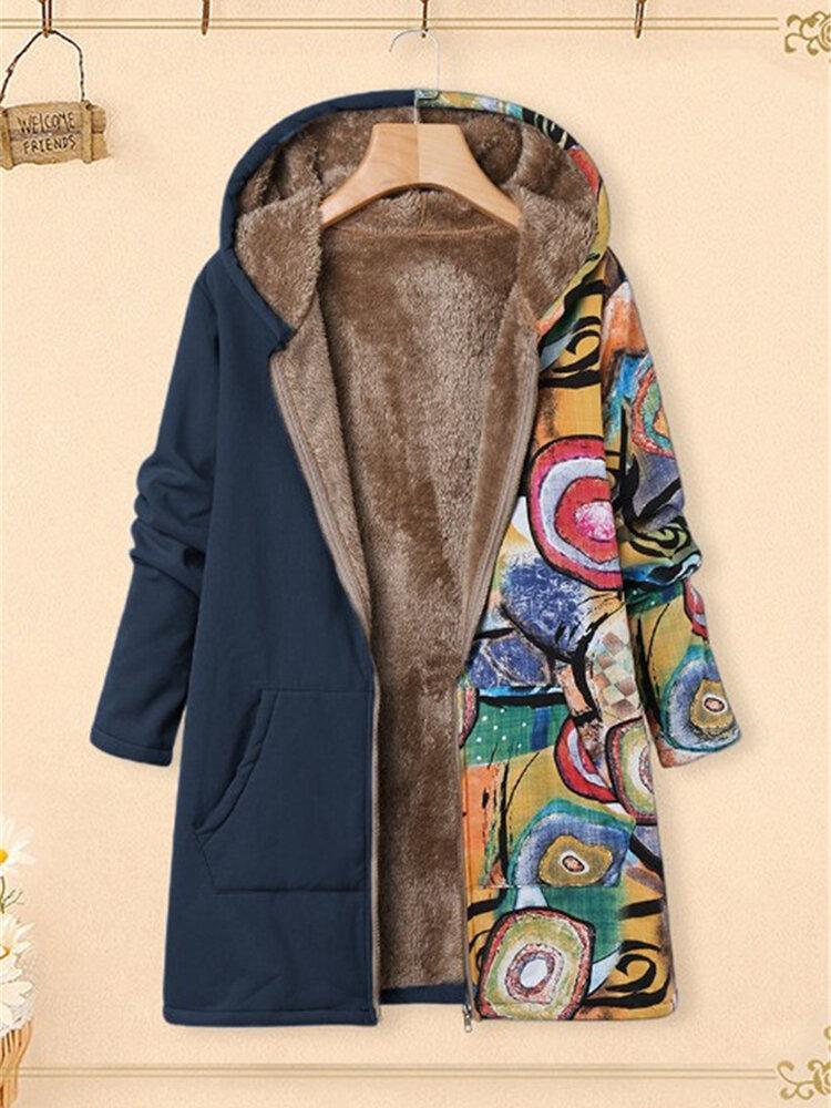 Plus Size Women Vintage Graffiti Print Patchwork Hooded Coats