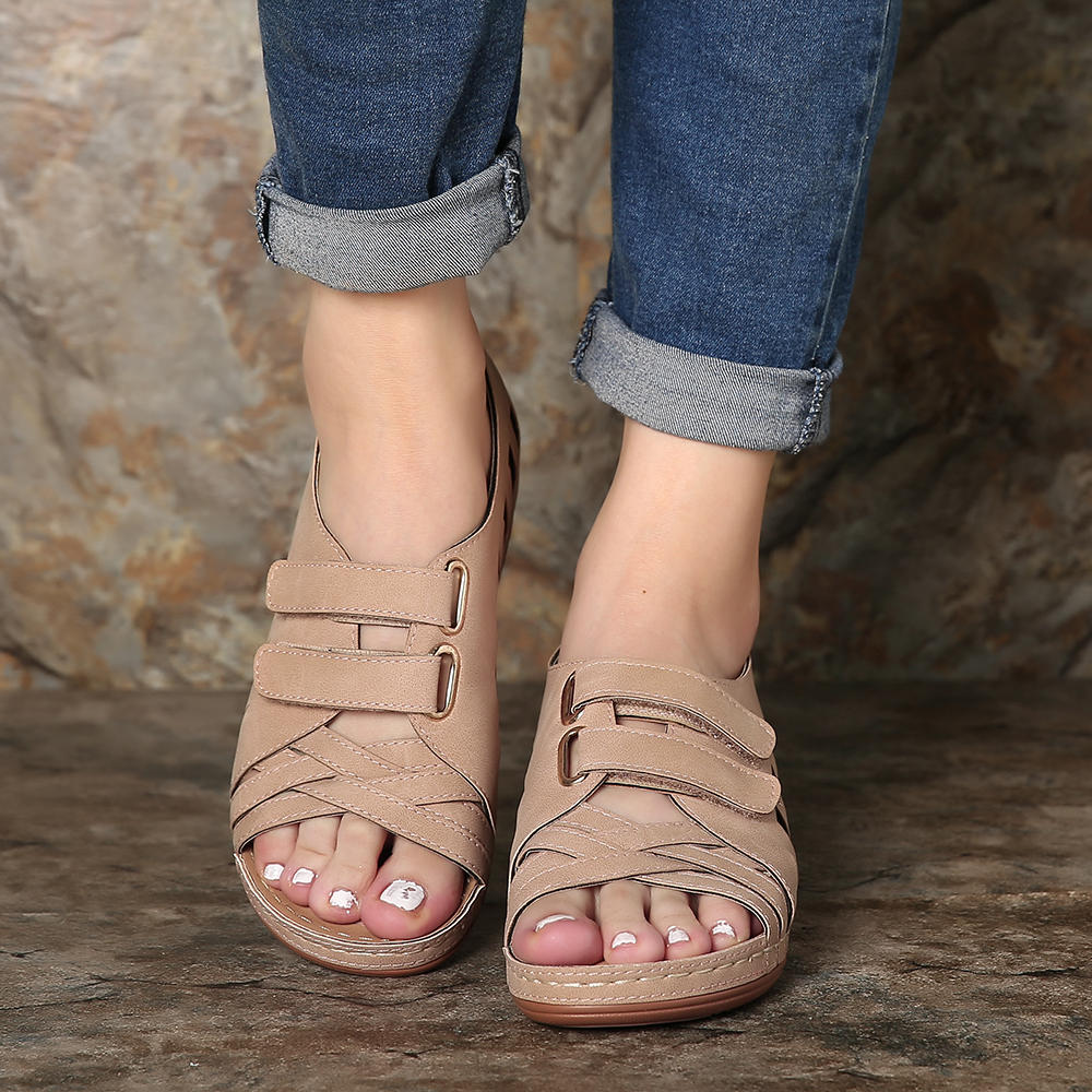 Large Size Splicing Pure Color Flat Sandals For Women - 9