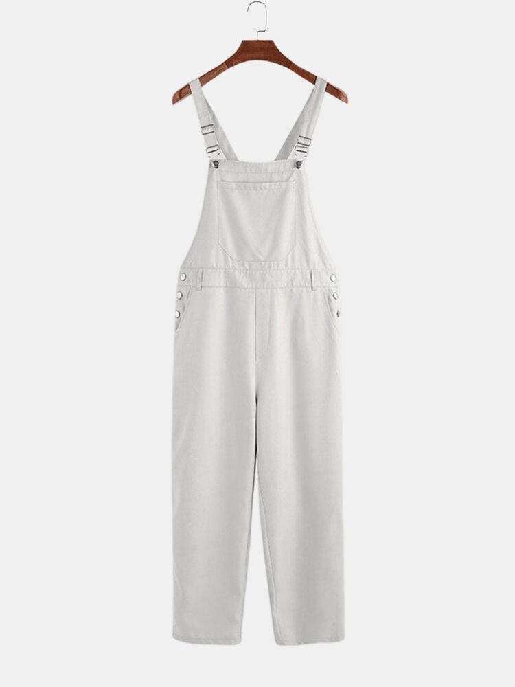Mens Fashion Pure Color Pockets Casual Suspender Pants - 1