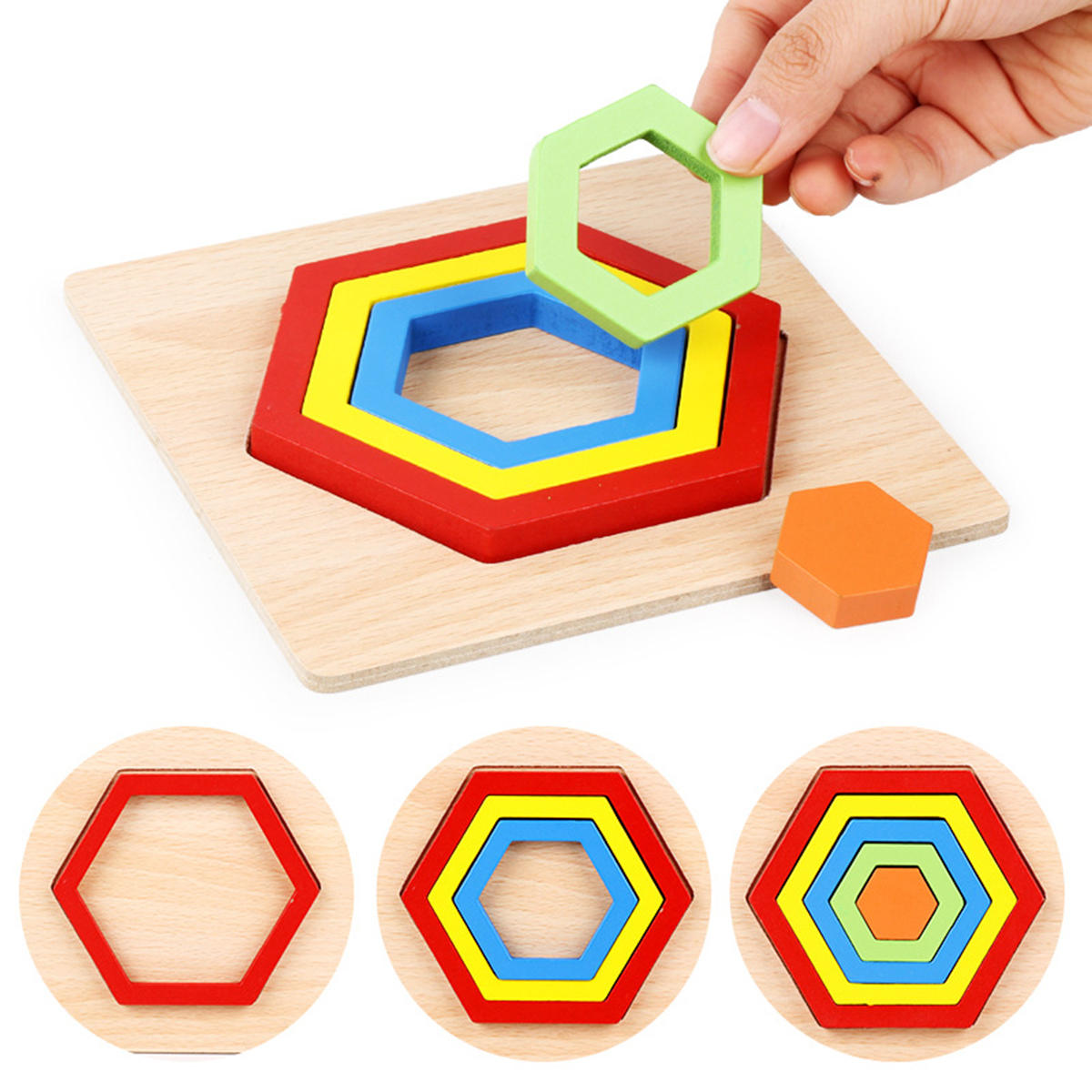 Shape Cognition Board Geometry Jigsaw Puzzle Wooden Kids Educational Learning Toys - 3
