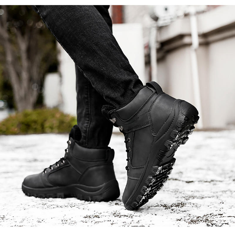 Men's Winter Keep Warm Waterproof Non-Slip Black Combat PU Leather Lace Up Jungle Hiking Snow Boots - 8