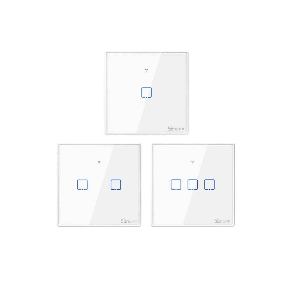 SONOFF® T1 EU / UK AC 100-240 V 1/2/3 Gang TX Series WIFI Dinding Beralih 433 MHz RF Remote Terkendali Wifi Beralih Smart Home Switch Bekerja Dengan Alexa