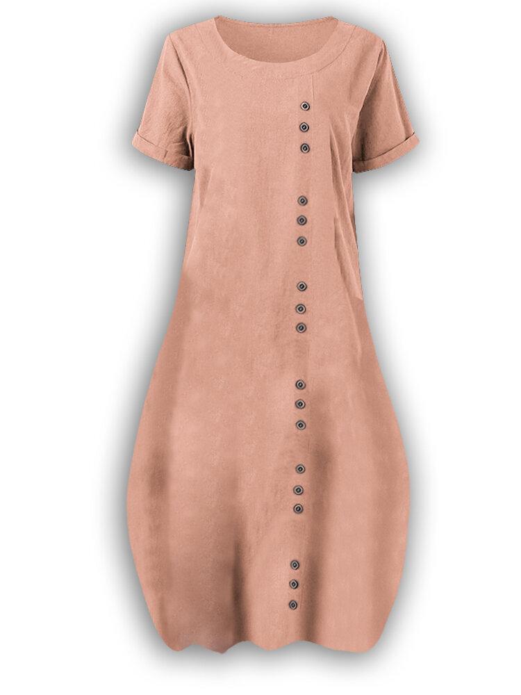 Plus Size Vintage Cotton V-neck Maxi Dress for Women - 4
