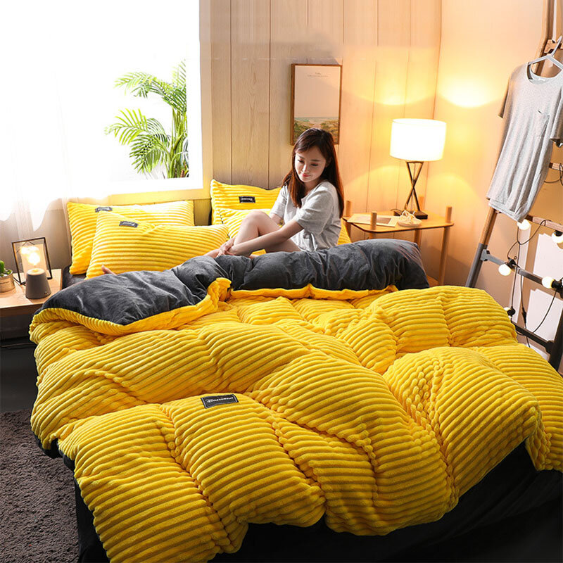 3 PCS Bedding Sets Solid Color With Embroidery Quilt Cover Pillowcase For Double Bed Size - 1