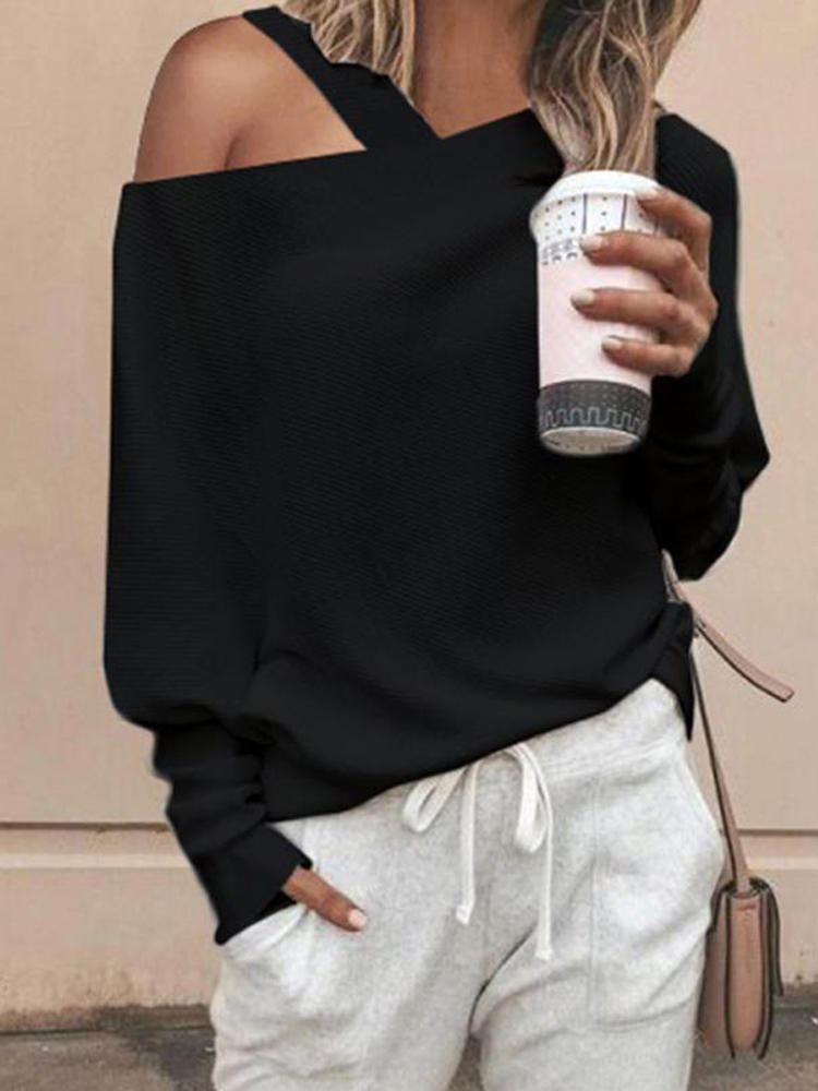Women Long Sleeve Side Button Down Loose Casual Basic Blouse - 2