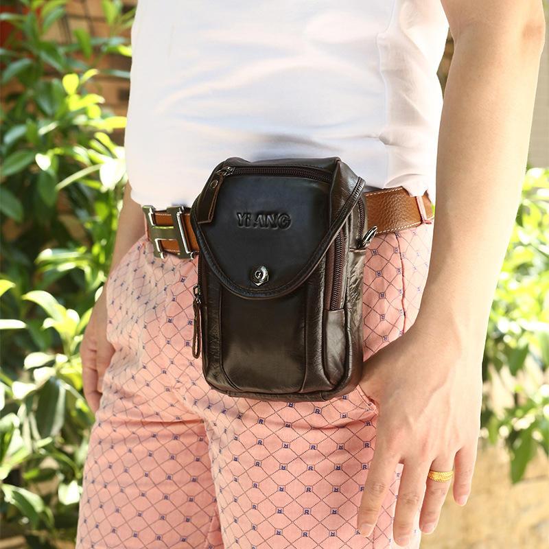 Genuine Leather 5.5-7″ Cell Phone Bag Waist Bag Crossbody Bag For Men - 5