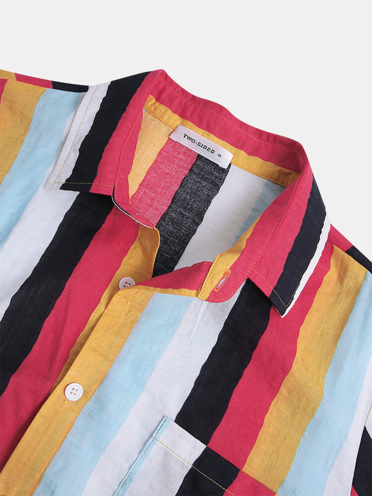 Mens New Fashion Casual Short Sleeve Colorful striped shirts - 6