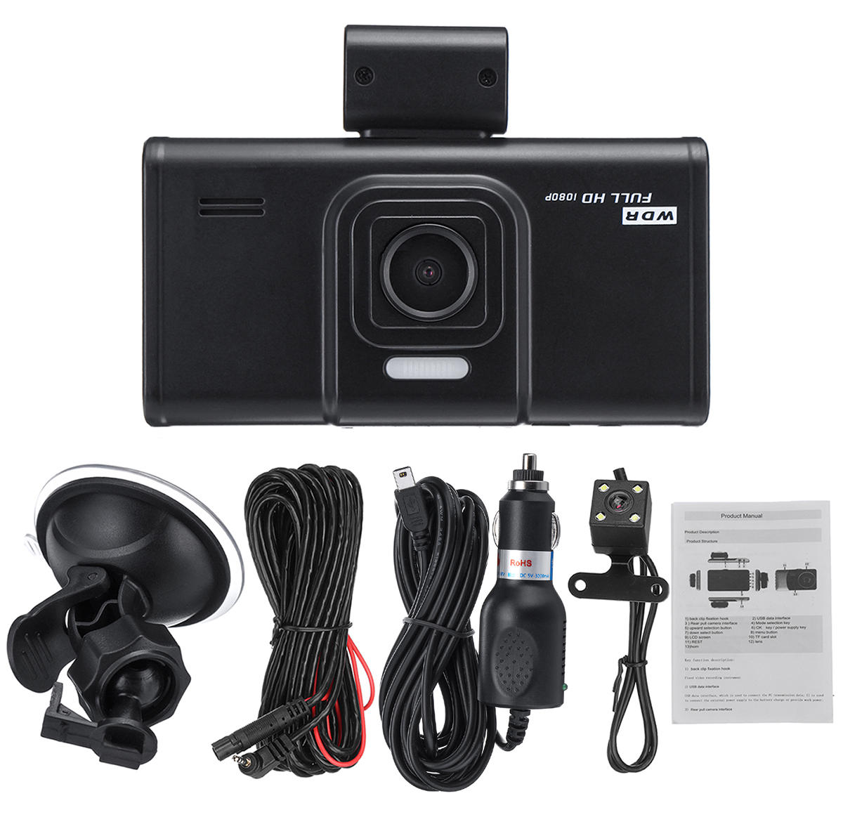 4'' HD 1080P Dual Lens Car DVR Front and Rear Camera Video Dash Cam Recorder 170 Degree фото