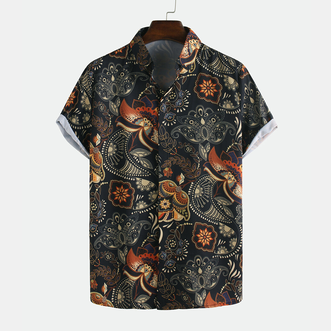 Men Printed Retro Style Summer Casual Short Sleeve Lapel Shirts - 1