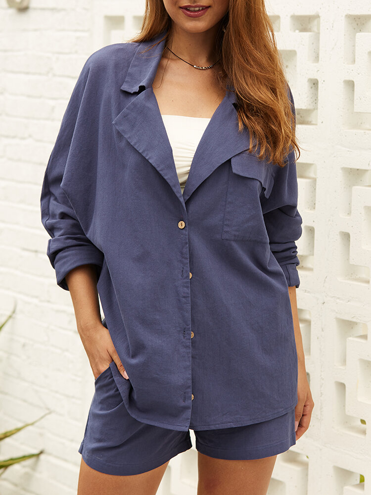 Casual Solid Color Turn Down Collar Button Long Sleeve Blouse
