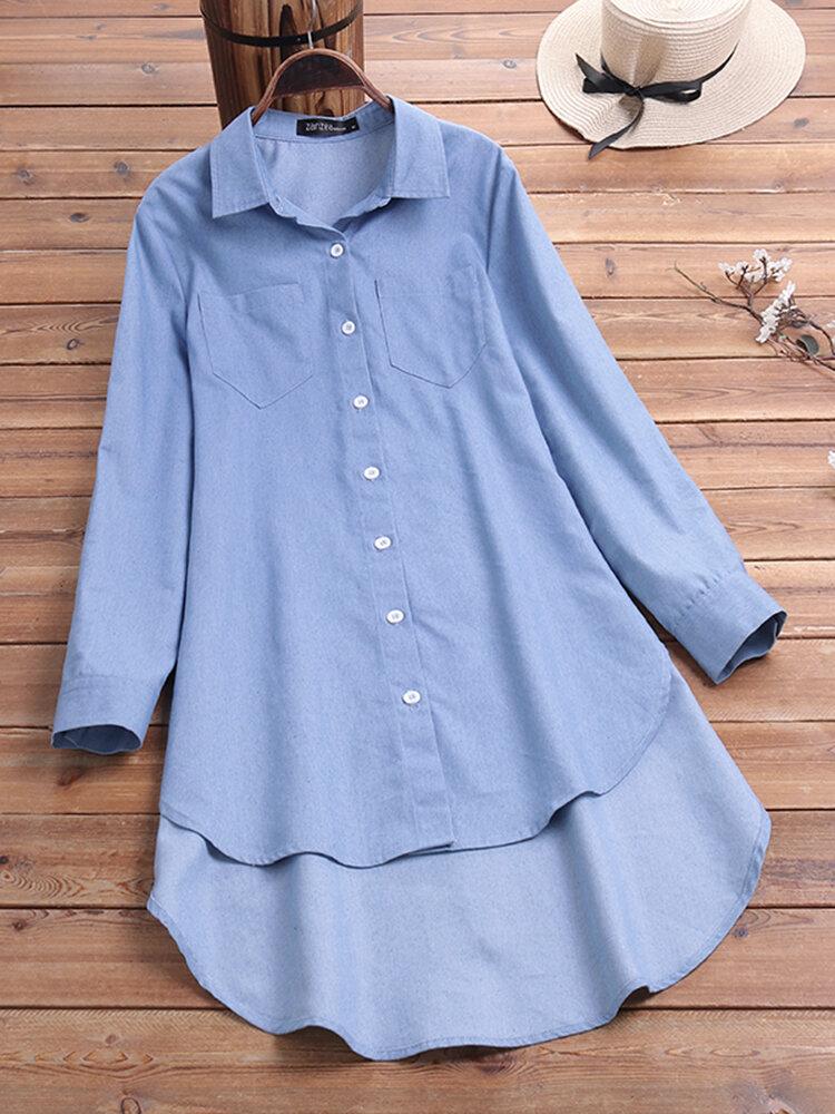 Women CasualTurn-Down Collar Button High Denim Shirts