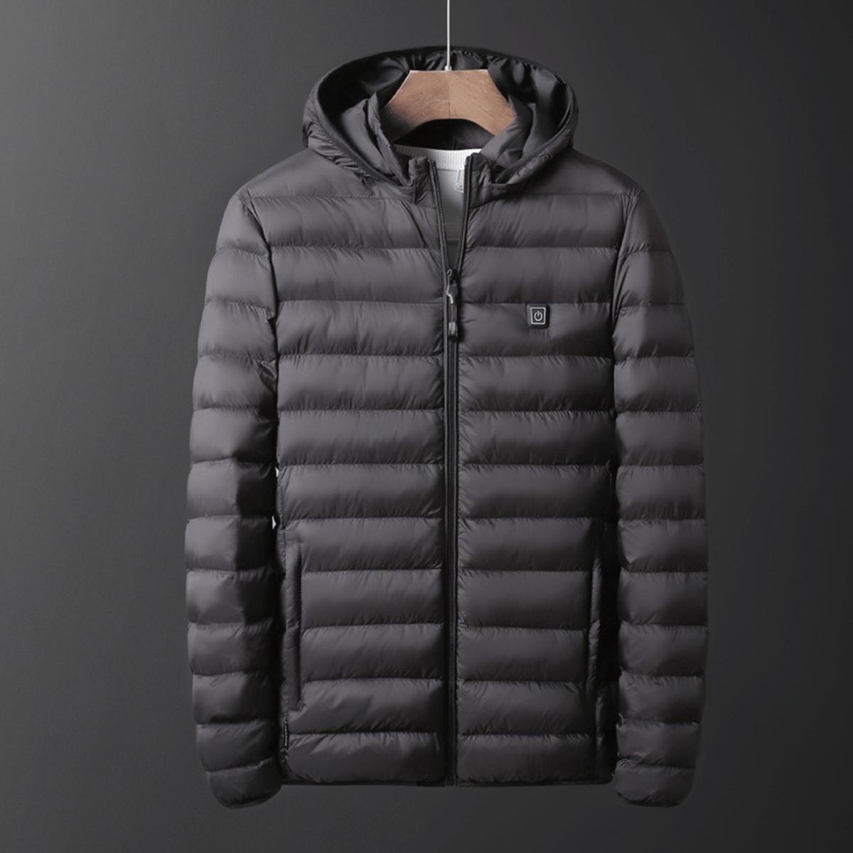 USB Electric Heated Coat Jacket Hood Heating Vest Winter Thermal Waterproof Men
