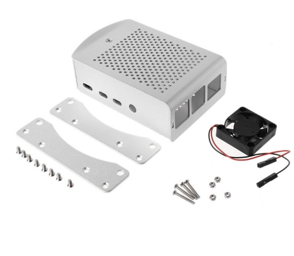 3 Pcs Sliver Aluminum Alloy Case with Cooling Fan Protective Shell Metal Enclosure fit for Raspberry Pi 4 Model B