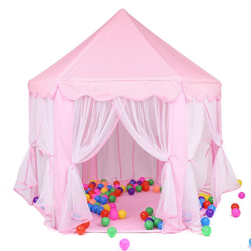 Pink Girls Castle Play Tent Princess Playhouse Children Kids Indoor Toys - 4