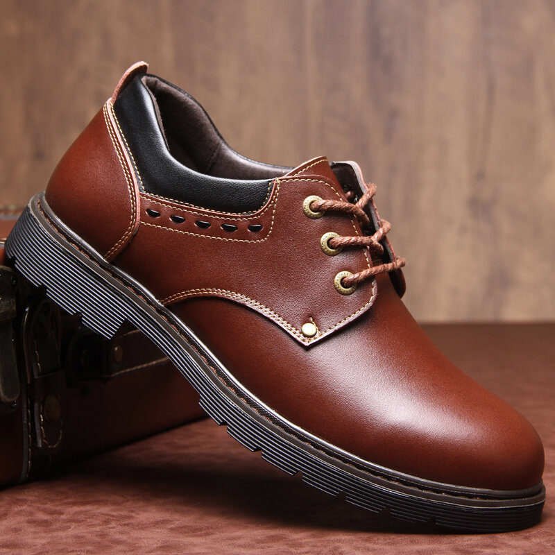 Men Pure Color Cow Split Leather Non Slip Tooling Casual Soft Oxfords