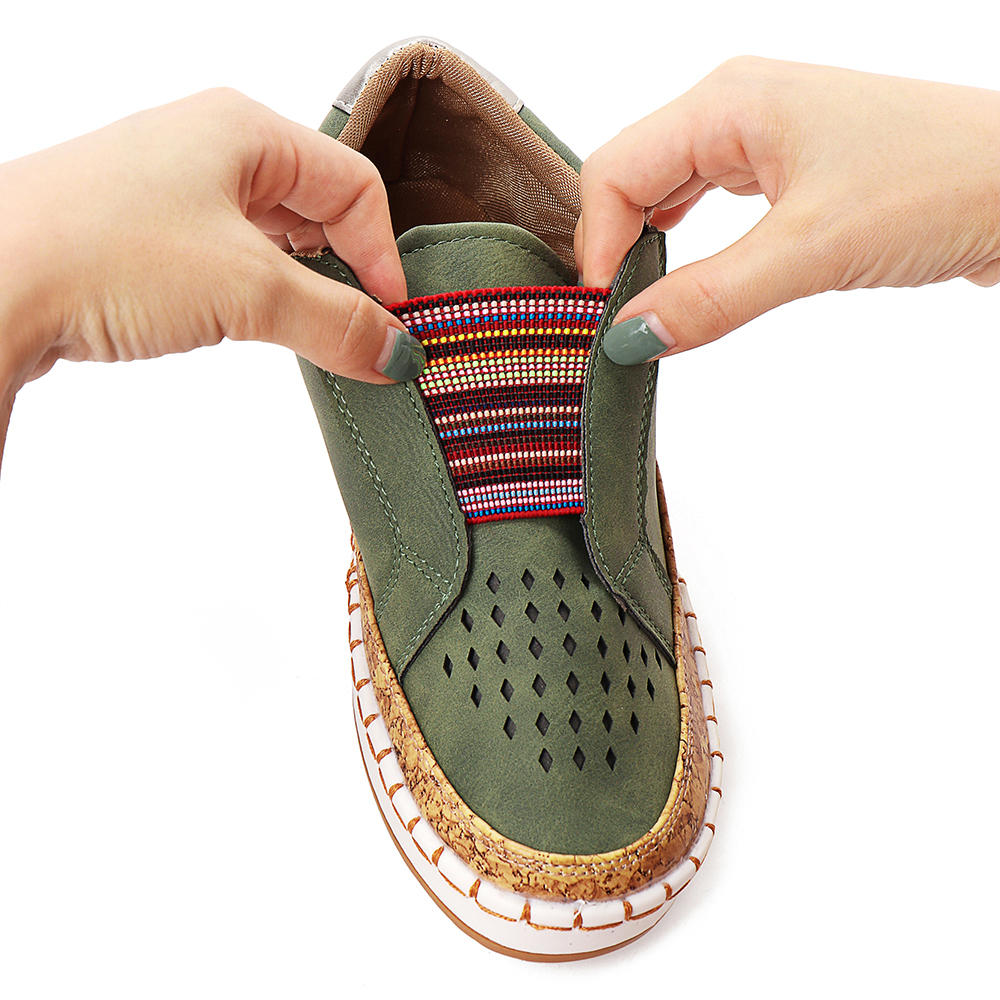 Women Genuine Leather Breathable Plus Size Casual Flats - 5