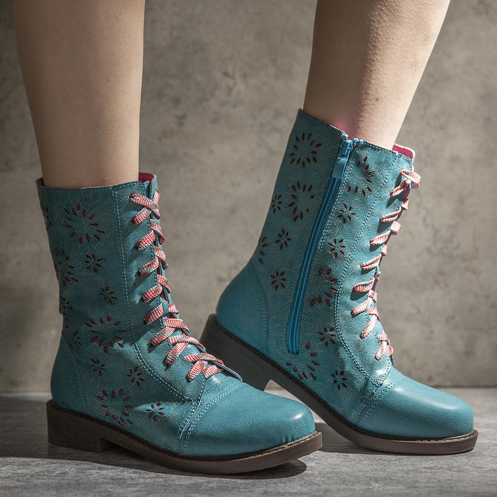 Women Pointed Toe Embroideried Lace Up Block Boots - 6