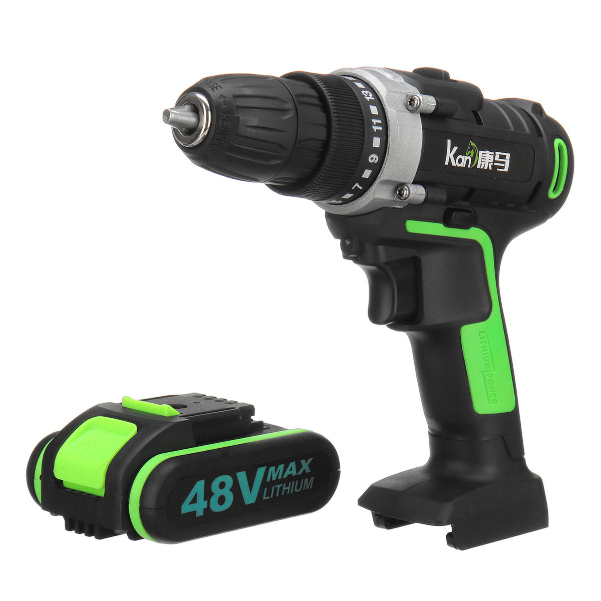 48V 3 In 1 Cordless Power Drills 15+1 Torque Drilling Tool Dual Speed Electric Screwdriver Drill W/ 1 or 2 Li-ion Battery - 5