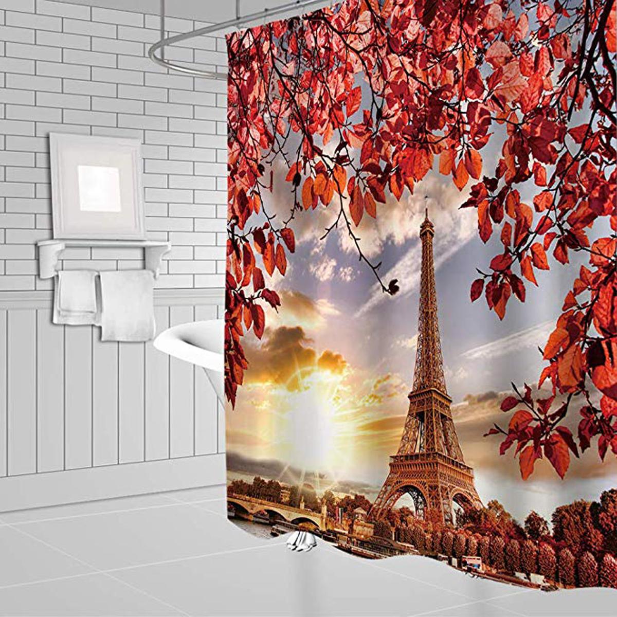 3D Tree and Eiffel Tower Dusk Impreso Cuarto de baño Impermeable Cortina de ducha Alfombras de baño antideslizantes Alfombras Alfombras de pedestal Cubierta del asiento del inodoro - 3