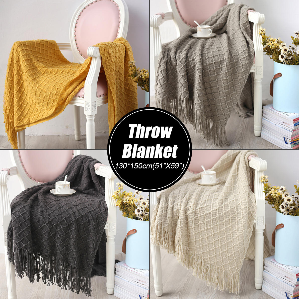 130*150cm(51 X 59 ) Sofa Throw Blanket Anti electrostatic Tassels Air Condition Blankets Travel - 6