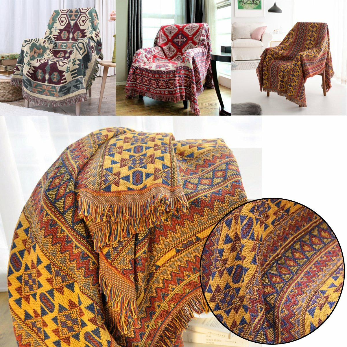 Cotton Knitted Blankets Throw Tribal Bohemian Ethnic Sofa Bedding Home Decor - 1