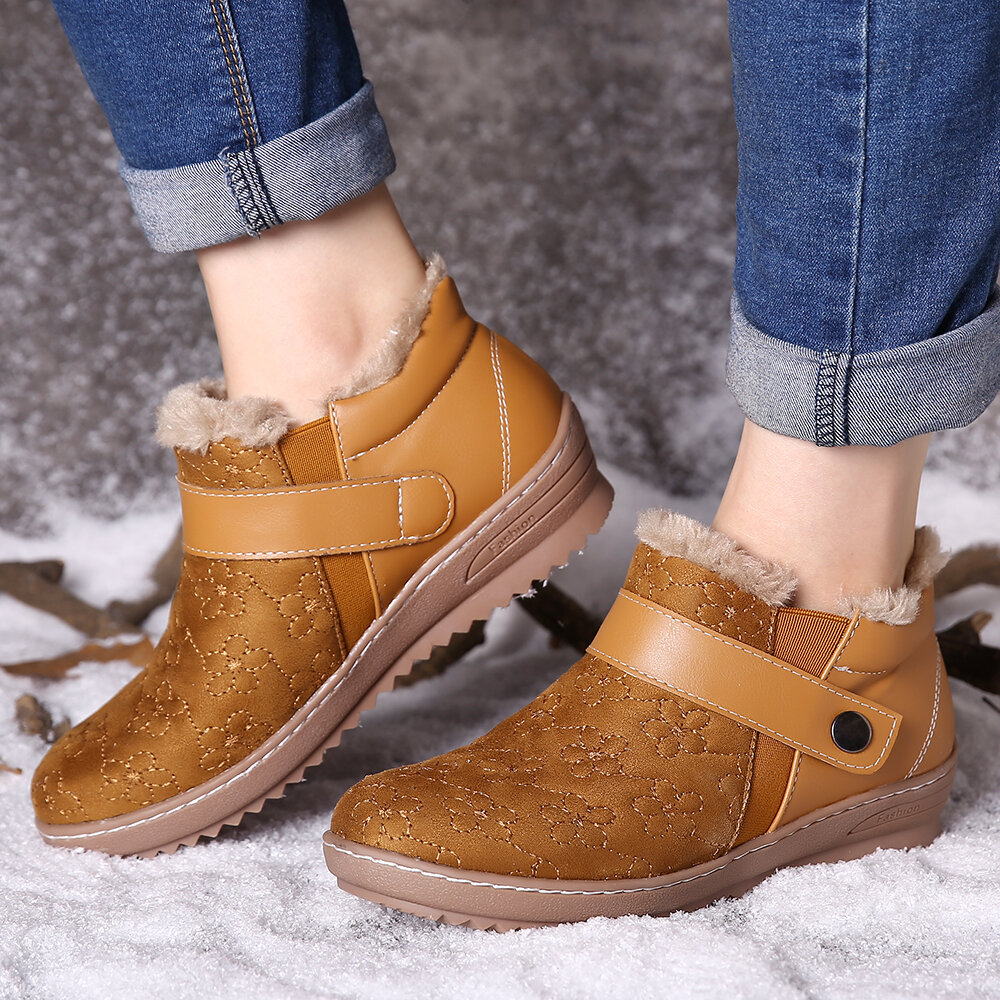 Warm Fur Lining Waterproof Leather Casual Ankle Snow Boots