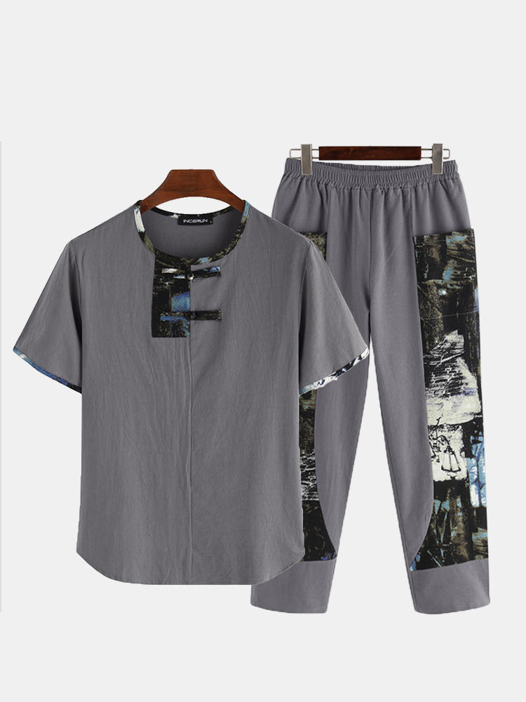 Mens Funny Cactus Print Pajama Set Revere Collar Button Up Smooth Affordable Silk Nightwear - 1