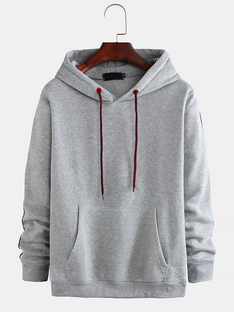 Men's New Casual Fashion Hooded Fashion Line Stitching Sweatshirt - 8