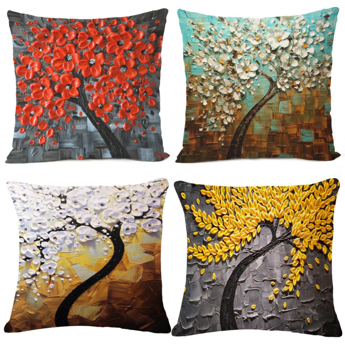 Kussenhoes Boom Bloem Kussensloop Katoen Linnen Kussenhoes Gift Woondecoratie - 1
