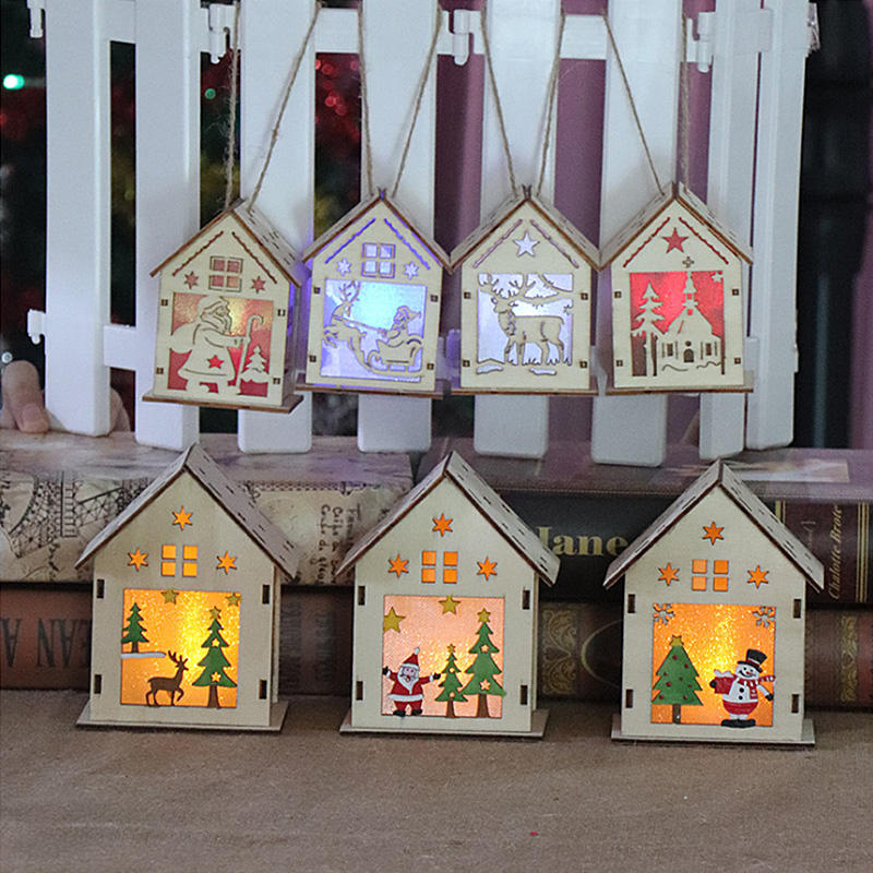 LED Light Wood Cute Christmas Tree Hanging Ornaments Holiday Decorations