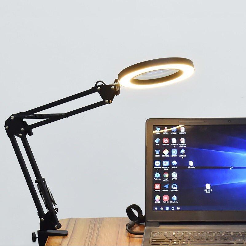 DANIU Pencahayaan LED 5X740mm Kaca Pembesar Lampu Meja dengan Tangan Penjepit USB bertenaga Lampu LED Magnifier dengan 3 Mode Dimmable