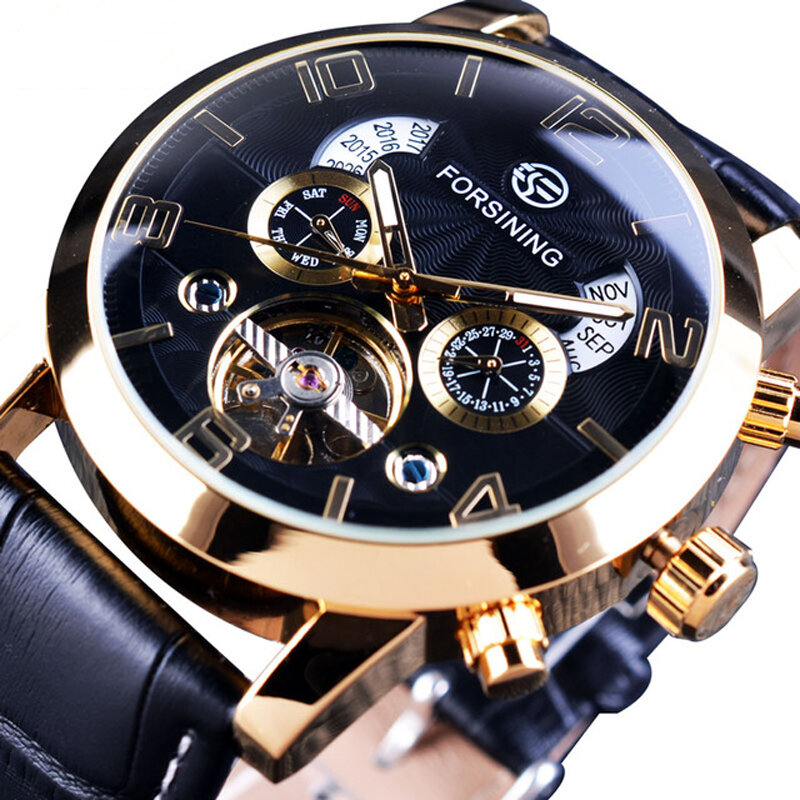 Forsining GMT1091 Light Luxury 3ATM Waterproof Luminous Display Fashion Men Mechanical Watch - 2