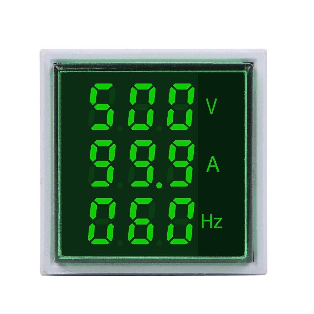 Arduino scm & diy 3pcs Geekcreit® 3 in 1 AC 60-500V 100A Square Green LED Digital Voltmeter Ammeter Hertz Meter Signal Lights Voltage Curr фото