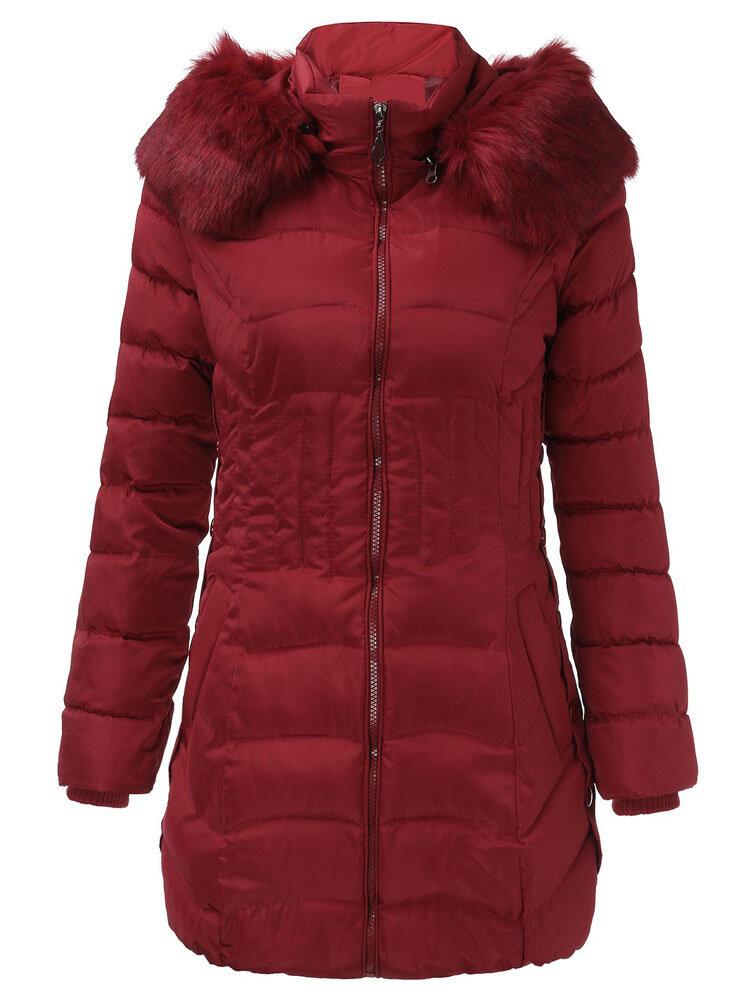 Women Warm Winter Hooded Long Down Jacket Zipper Coats