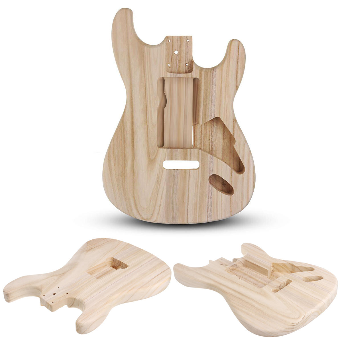 DIY Polished Maple Wood Type ST Electric Guitar Barrel Body for Guitar Replace Parts - 12