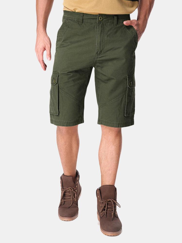 Outdoor Multi-pocket Cotton Cargo Shorts - 1