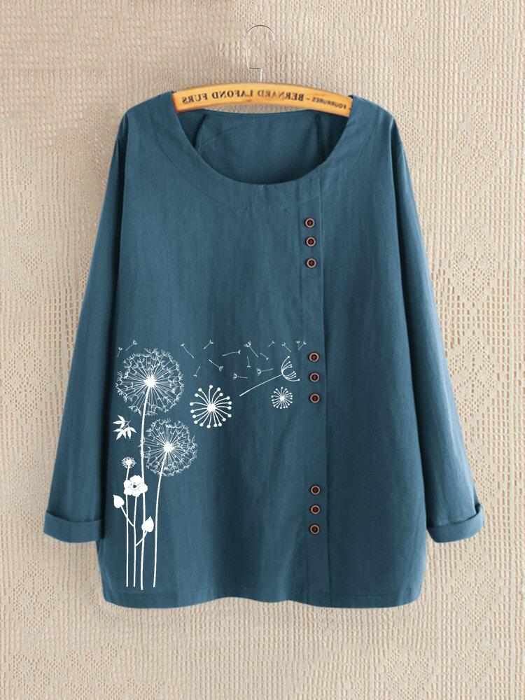 Casual Print Flower Crew Neck Long Sleeve Autumn Shirts