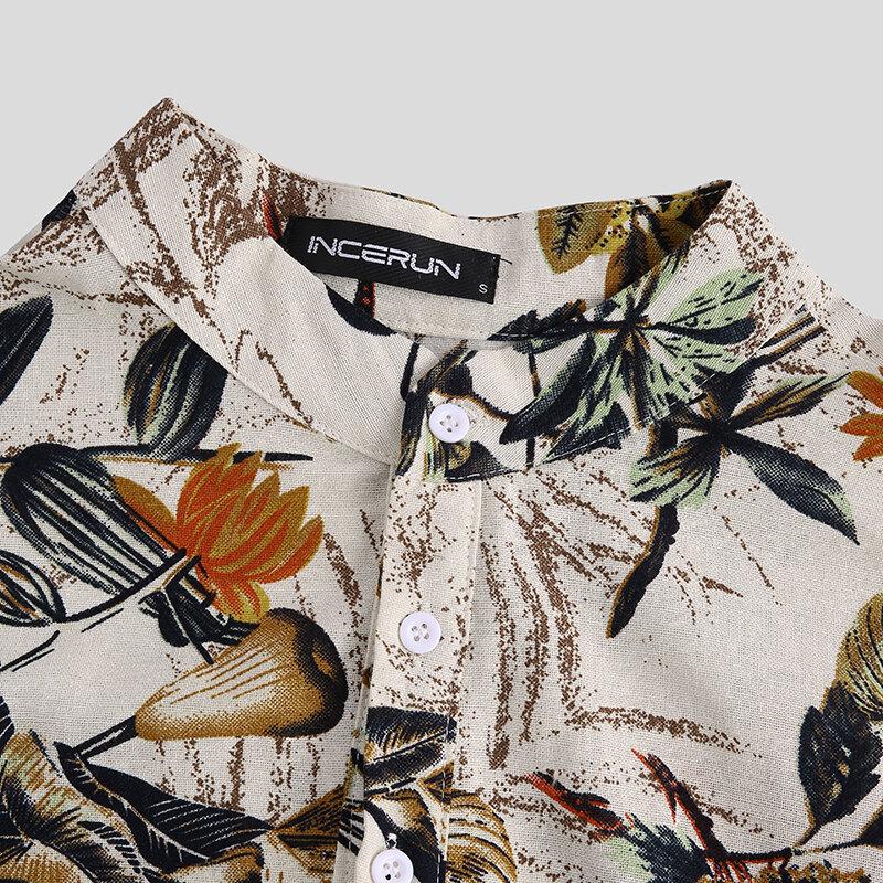 Mens Hawaiian Short Sleeve Summer Floral Printed Beach Shirt - 5