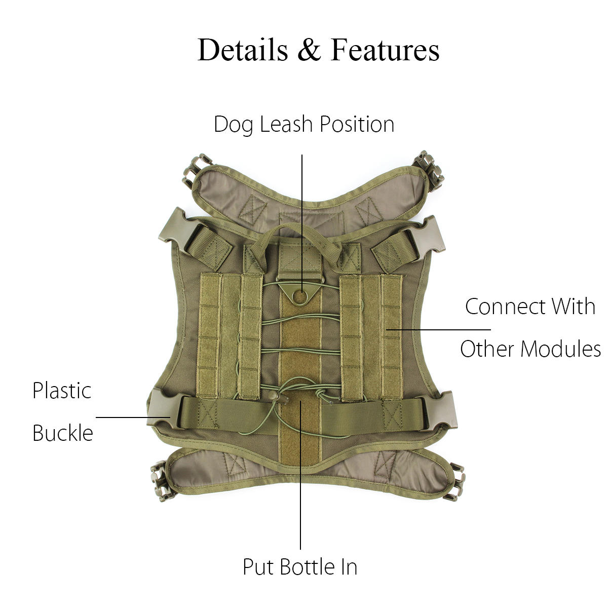 L Size 1000D Pet Trainer Nylon Outdoor Military Tactical Dog Training Molle Compact Vest Harness MOLLE System Clothes - 6