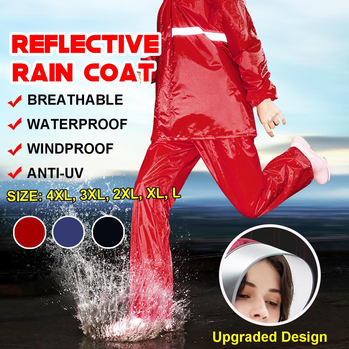 Adult Raincoat Mens Rain Long Pants Anti UV Riding Cover Rainsuit Jacket & Hat - 5