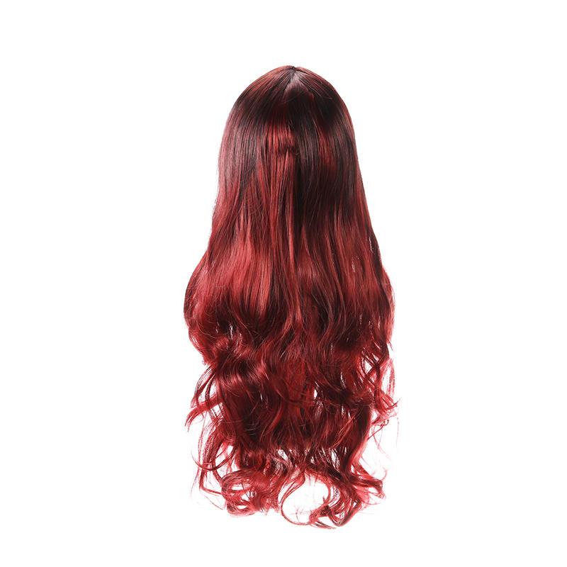 26 '' Donna Ombre Nero Rosso Completo Parrucca Signore Lungo Riccio Ondulato Parrucca Capelli Cosplay - 8