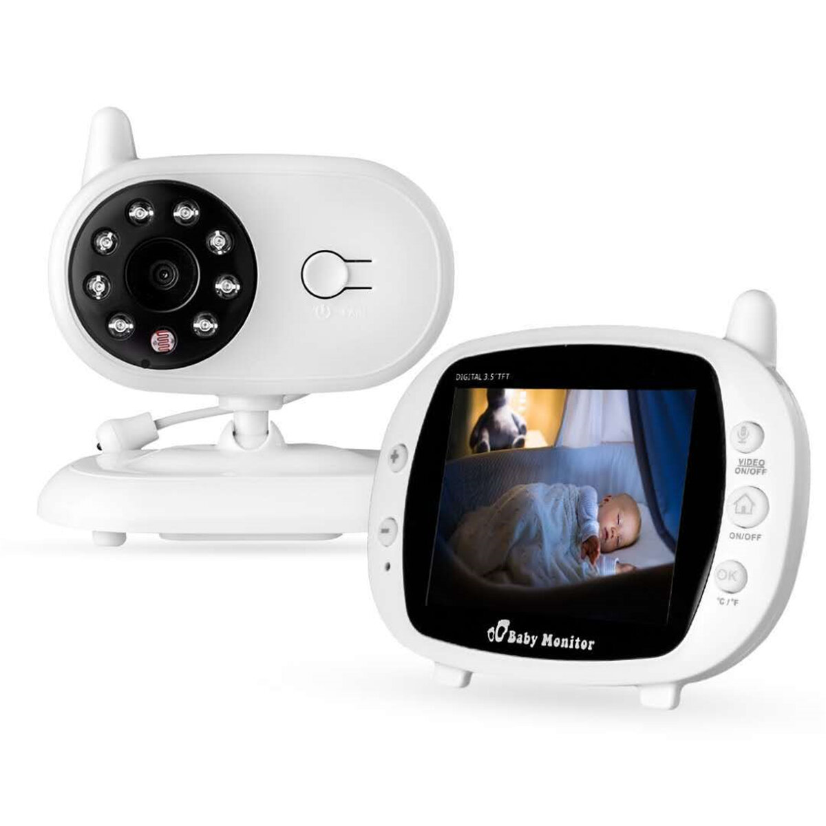3.5 inch Baby Monitor 2.4GHz Video LCD Digital Camera Night Vision Temperature Monitoring Monitors, Banggood  - buy with discount