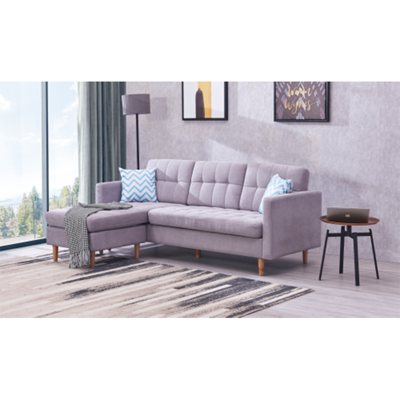 WLF Mid-Century Modern Chaise Sectional Fabric Sofa Couch