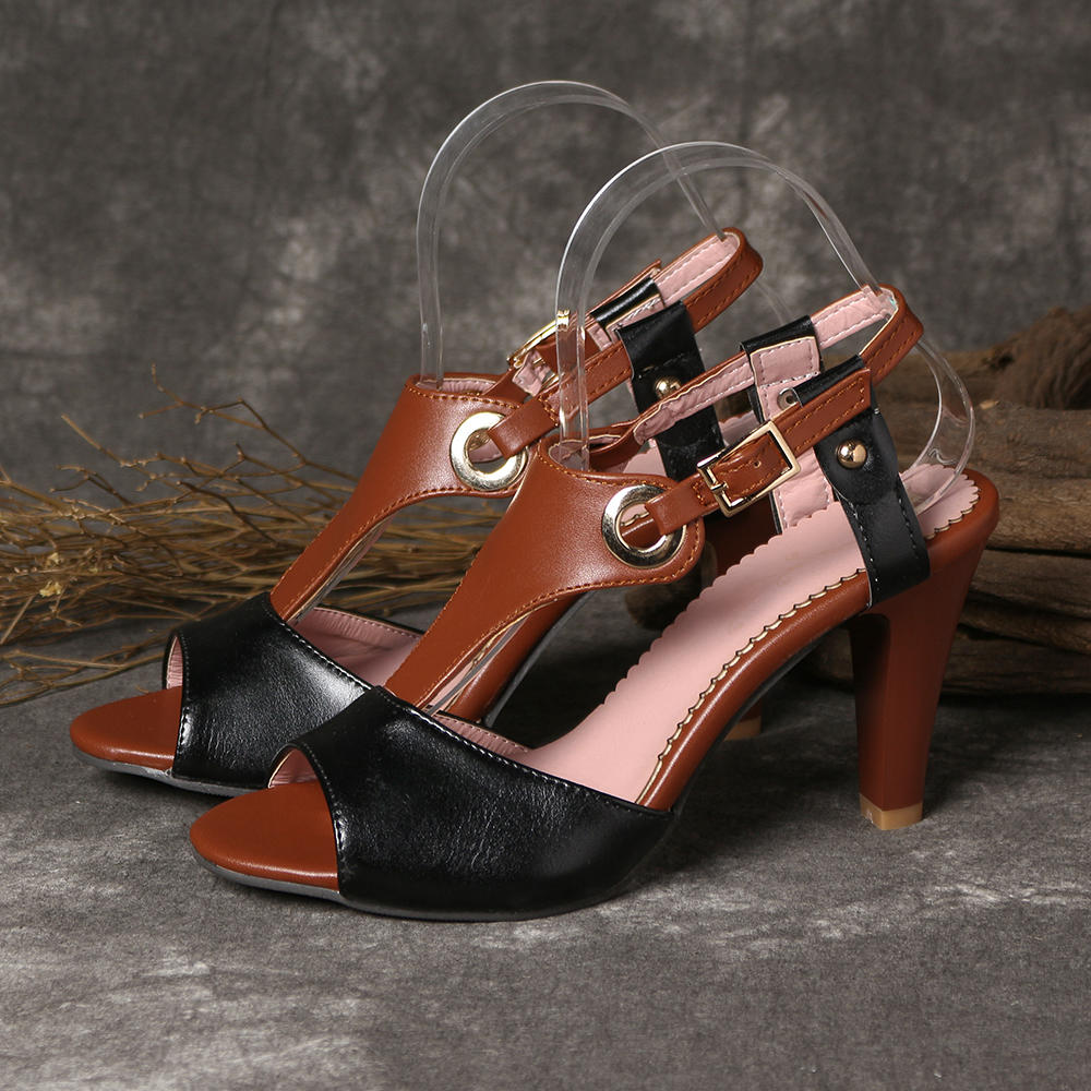 Women Plus Size Color Splicing Peep Toe Casual Summer Heeled Sandals - 4