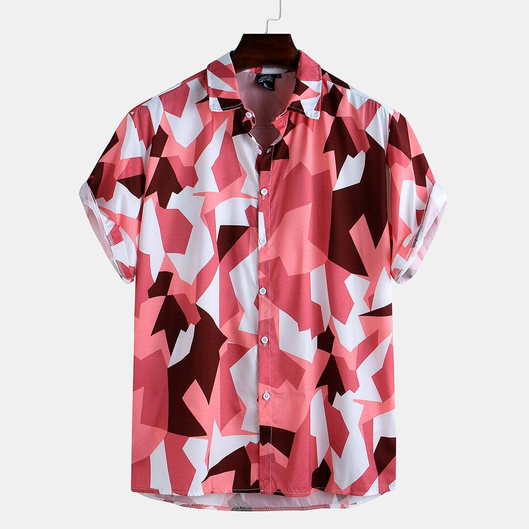 पुरुषों ने सरल शैली ग्रीष्मकालीन आरामदायक लघु आस्तीन अंचल शर्ट मुद्रित किया