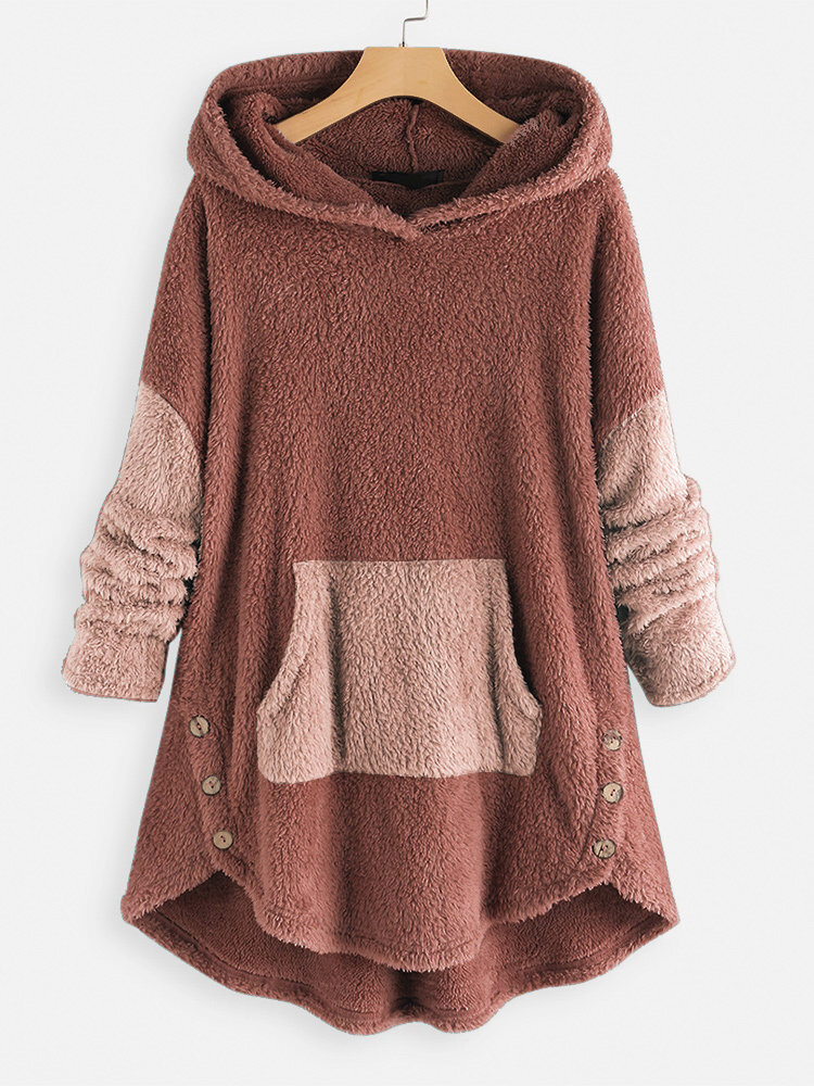 Jacquard Striped Patchwork Button Knit Hooded Sweatshirt - 6